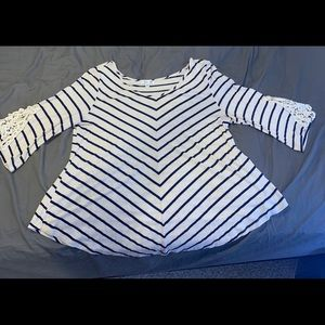 Plus Size Cream and Navy Top